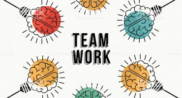 Teamwork business concept of modern human brains